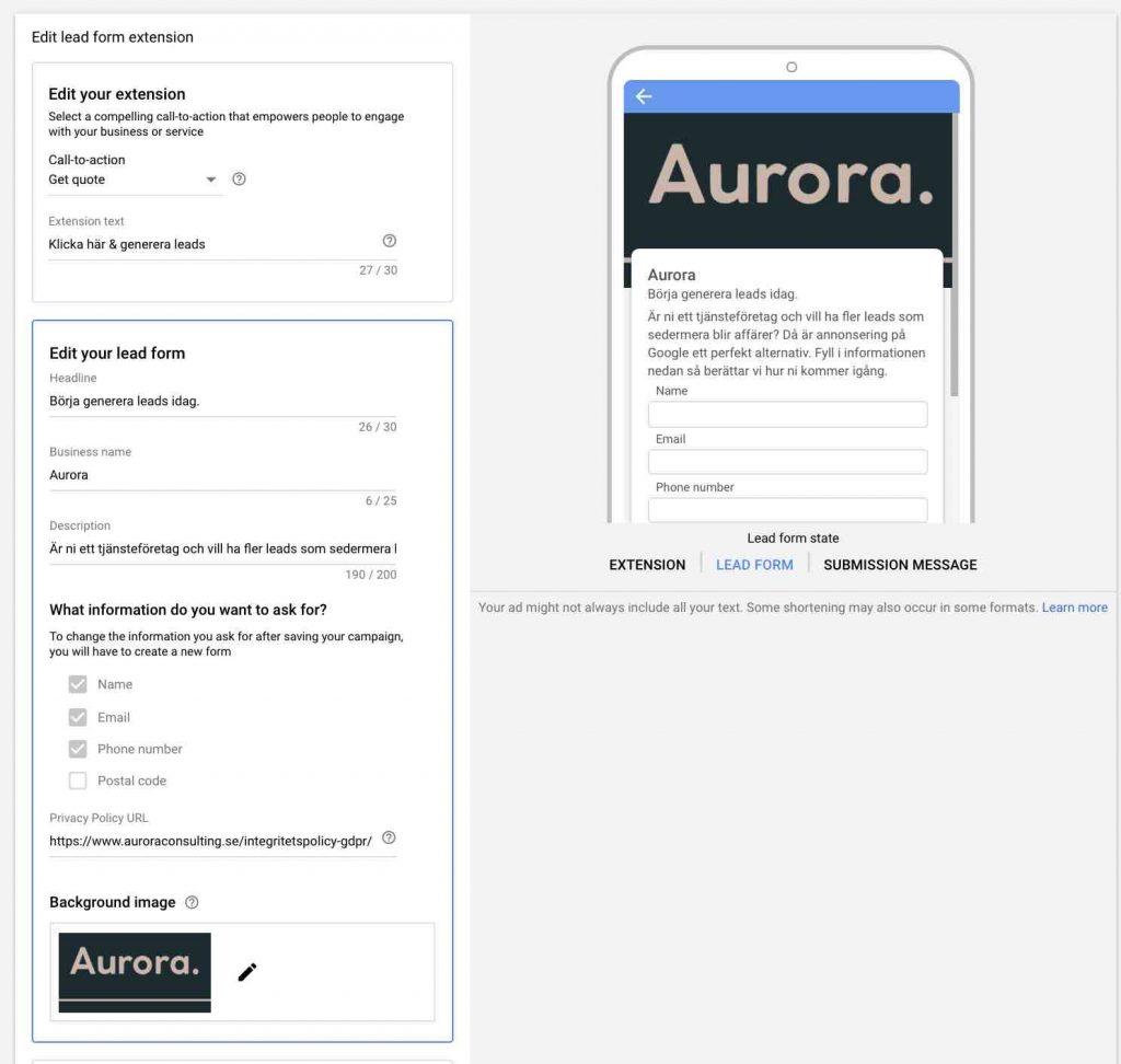 formulärtillägg för potentiella kunder Google Ads