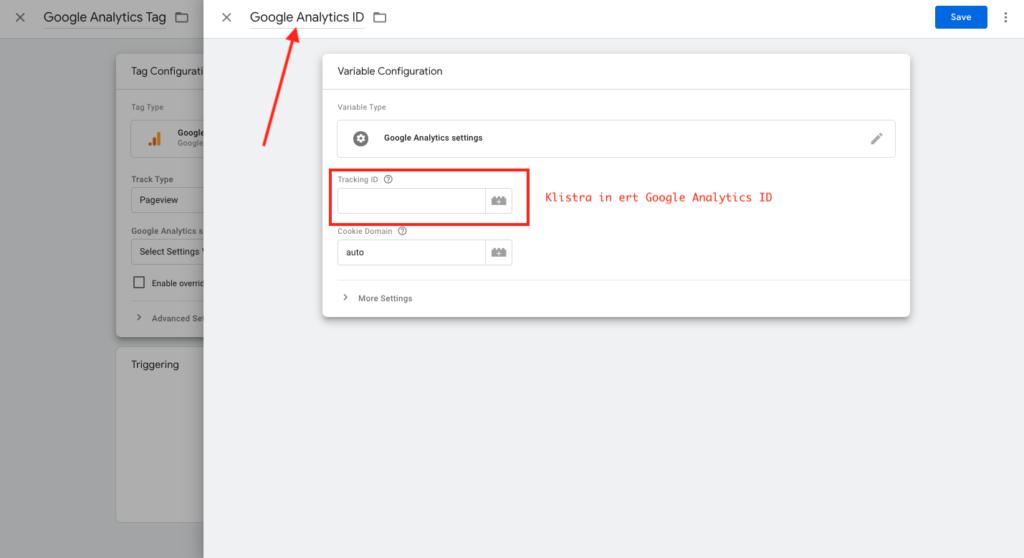 Klistra in Google Analytics ID