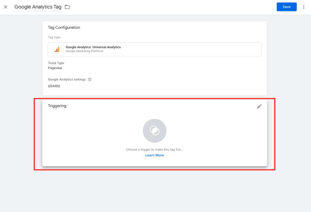 Select Trigger Google Tag Manager